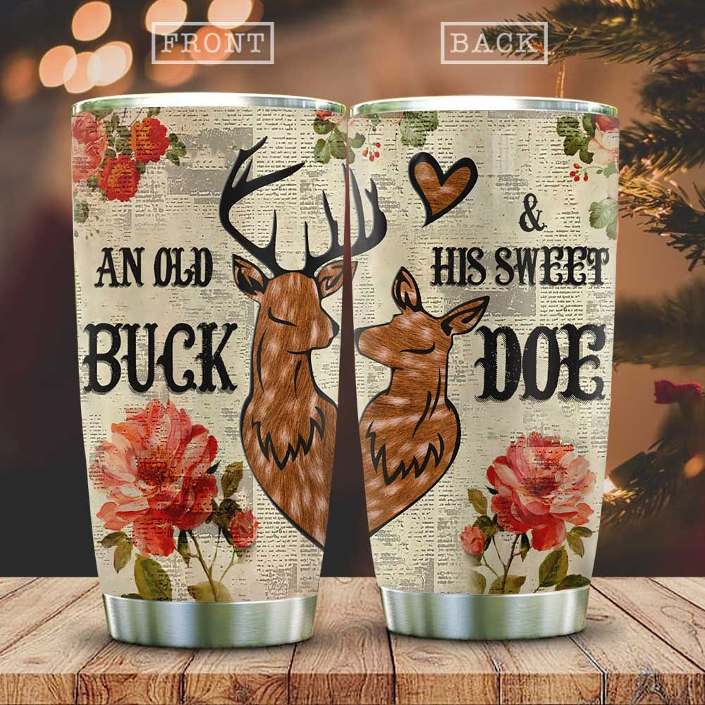 Wooden Style Deer Couple Buck And Doe KD2 HAL0501009Z Stainless Steel Tumbler