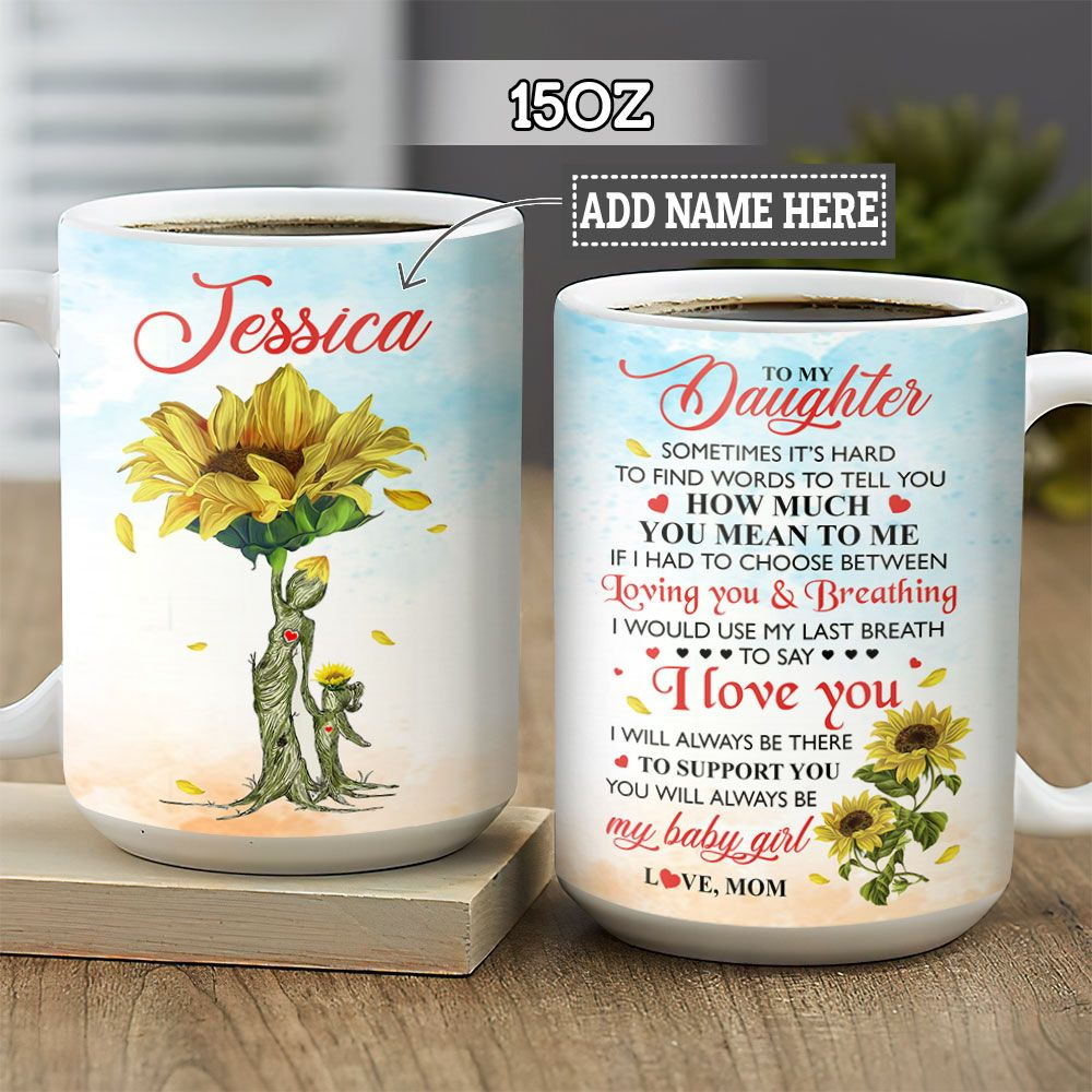 Personalized Sunflower Mom To Daughter BGZ1501018Z Full Color Ceramic Mug