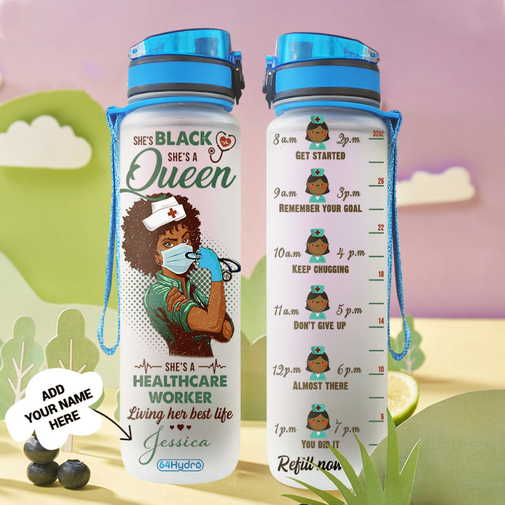 Personalized Black Women Nurse BGMZ0204006Z Water Tracker Bottle