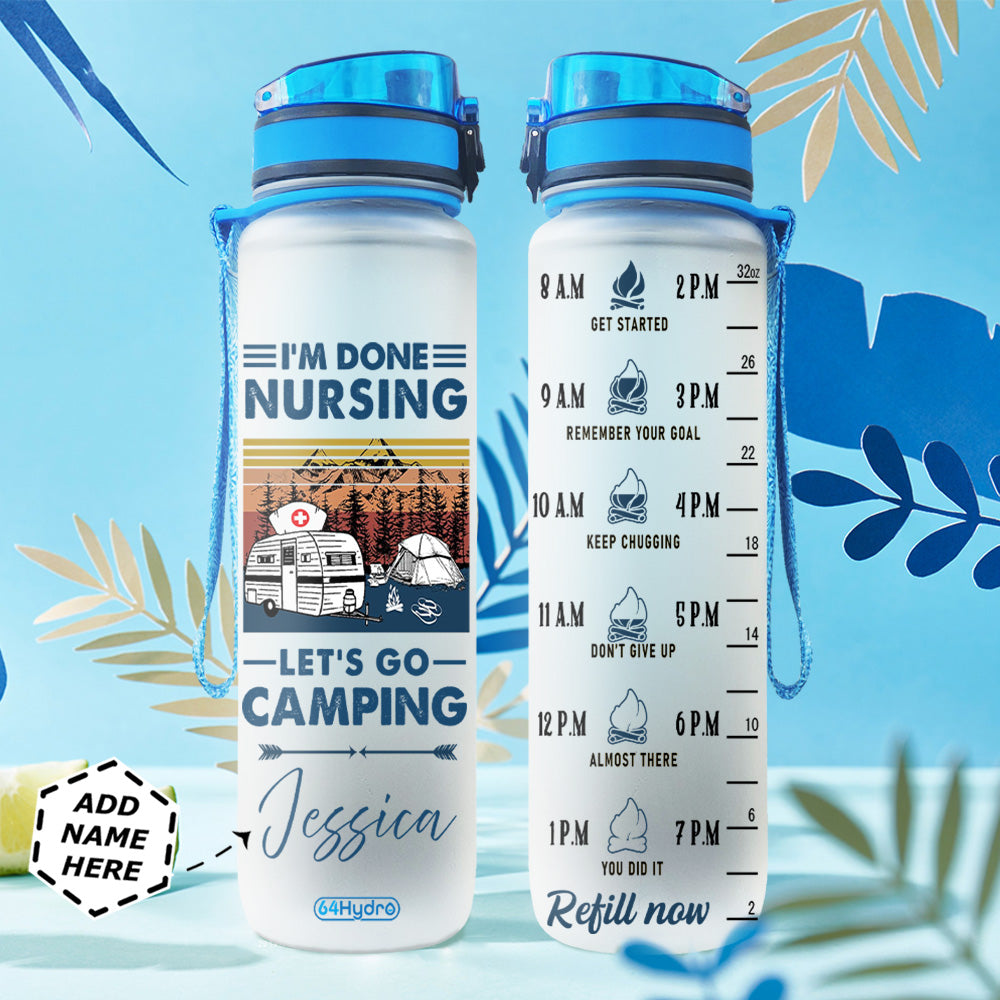Personalized Nurse Camping BGMZ0604011Z Water Tracker Bottle