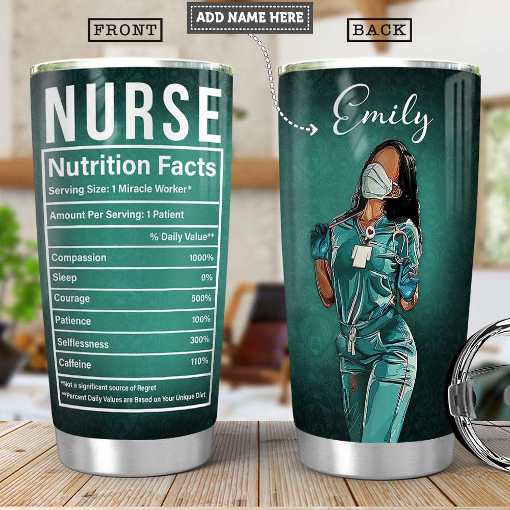 Black Nurse Facts Personalized PYRZ0704002Z Stainless Steel Tumbler