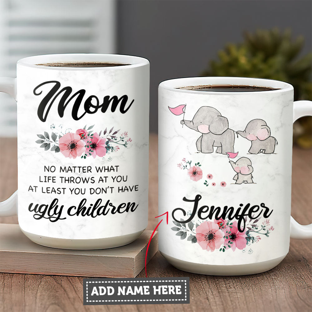 My Mom And Baby Elephant Personalized KD2 MALZ1504003Z Full Color Ceramic Mug