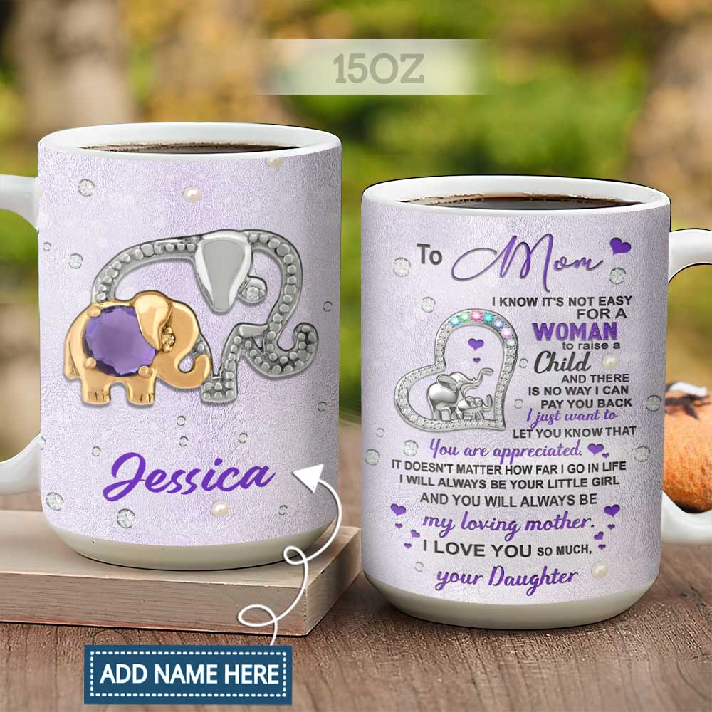 Jewelry Mom And Daughter Elephant Personalized KD2 HALZ1704003Z Full Color Ceramic Mug