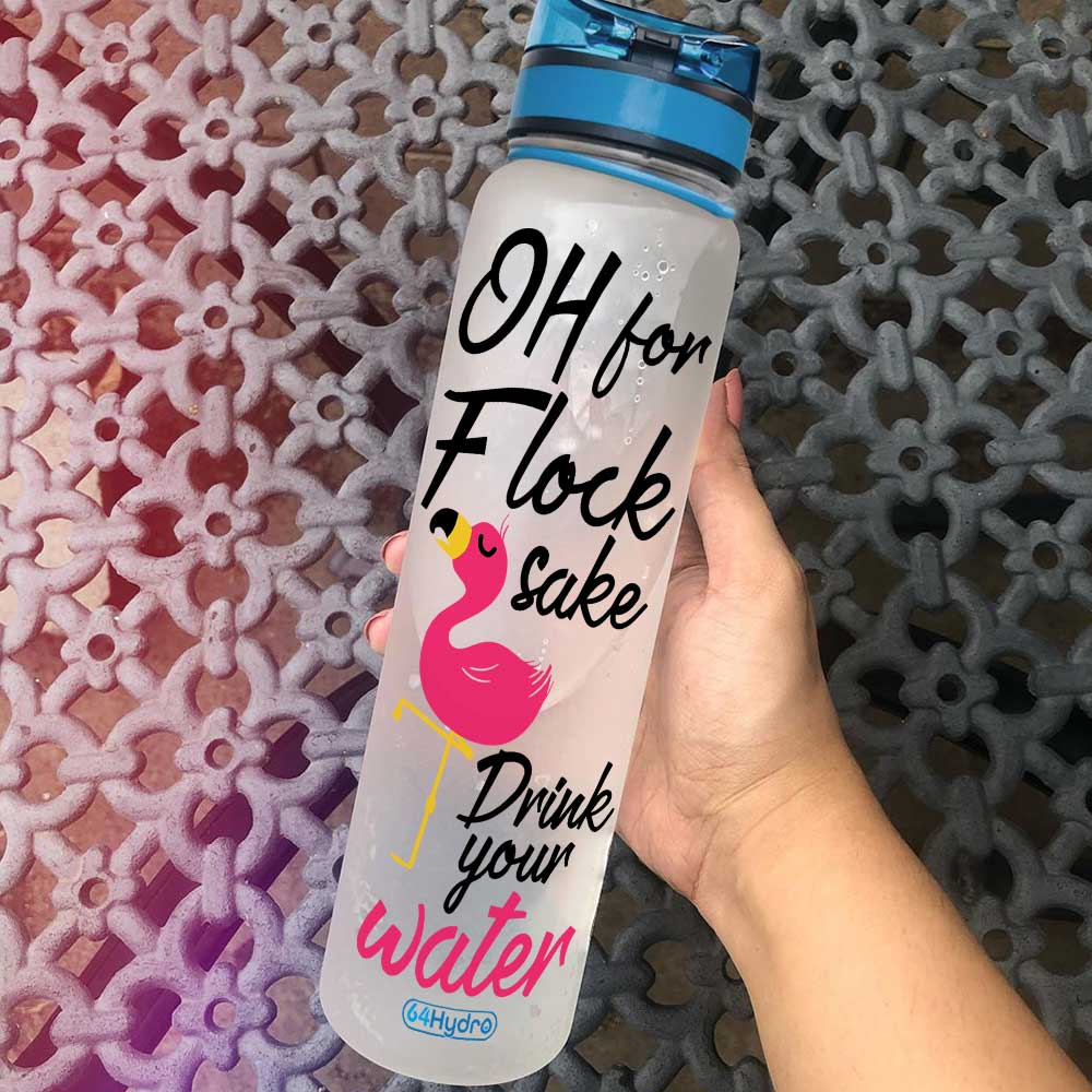 Oh For Flock/'s Sake Water Bottle Tracker Motivational Water Bottle Water Tracker Flamingo Water Bottle Personalized Gifts for Her
