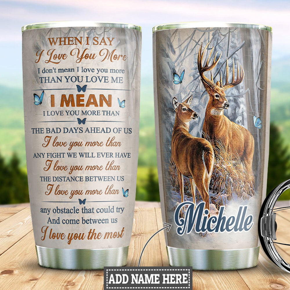 Deer Couple Personalized DNR1412010 Stainless Steel Tumbler