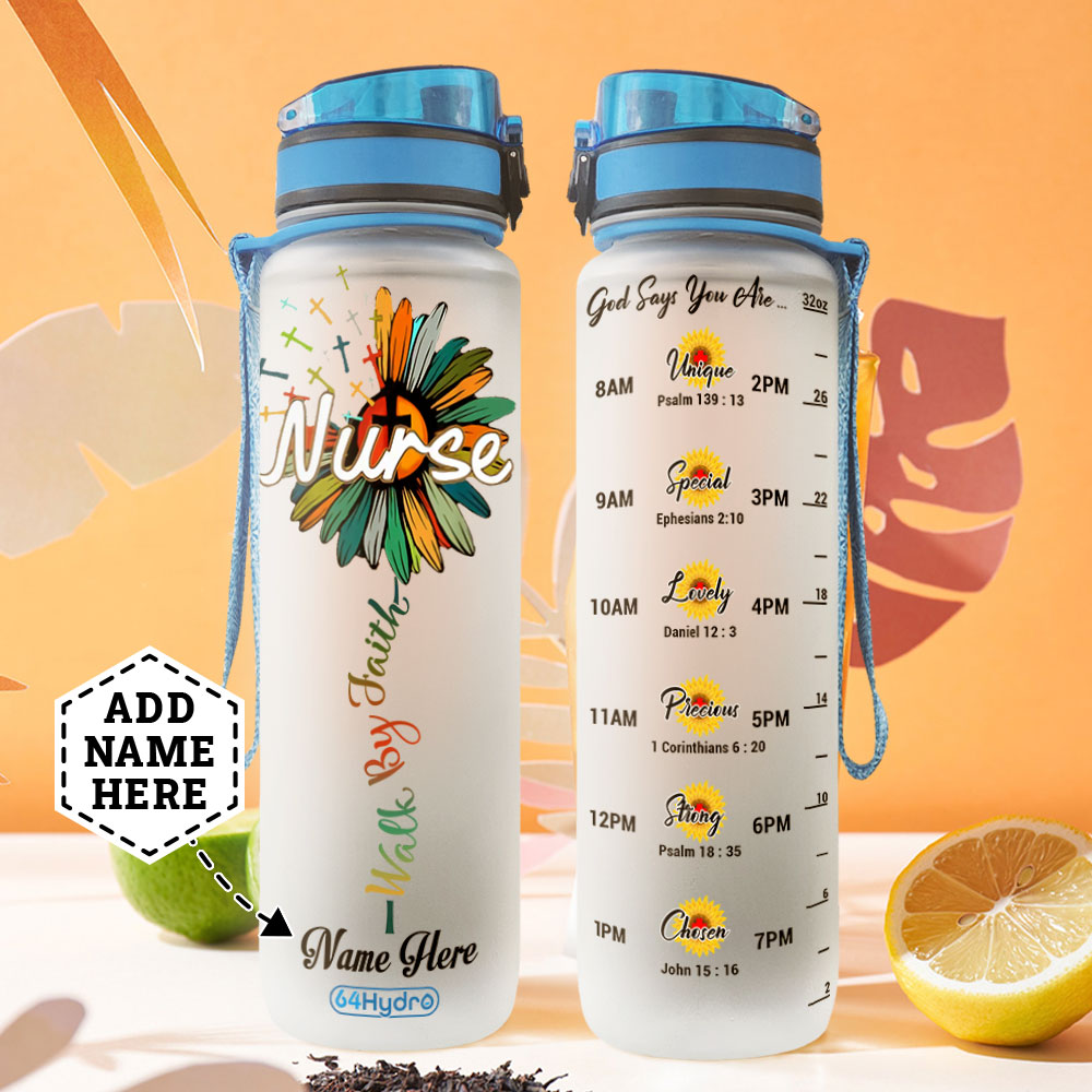 Nurse Sunflower Personalized MDA1708007 Water Tracker Bottle