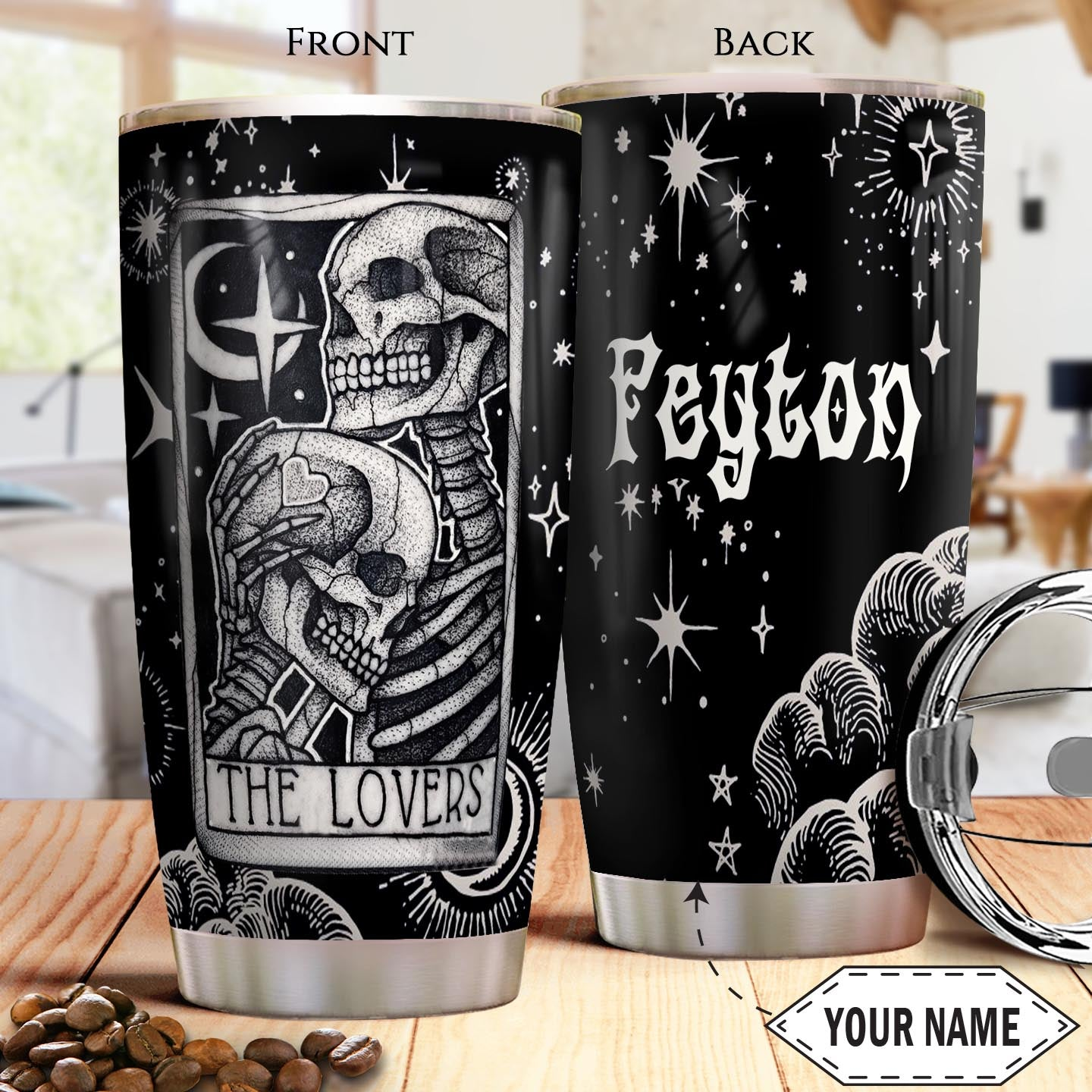 Skull Couple Tattoo KD4 Personalized THA2001018Z Stainless Steel Tumbler
