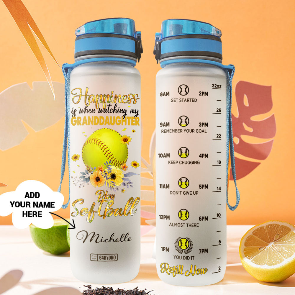 Softball Personalize HHA1007018 Water Tracker Bottle