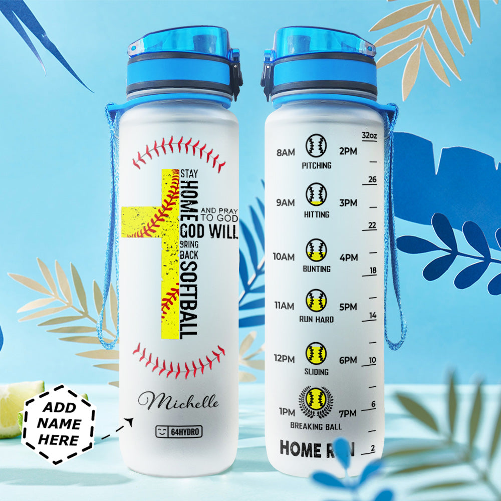 Softball Personalized HHA1507035 Water Tracker Bottle