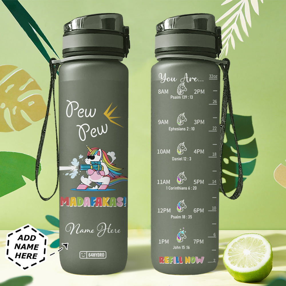 Unicorn Personalized HHA2907038 Black Water Tracker Bottle