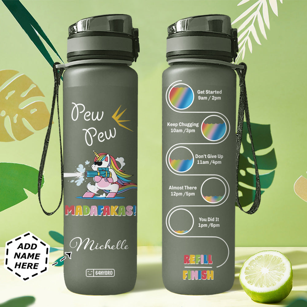 Unicorn Personalized HHA2907039 Black Water Tracker Bottle
