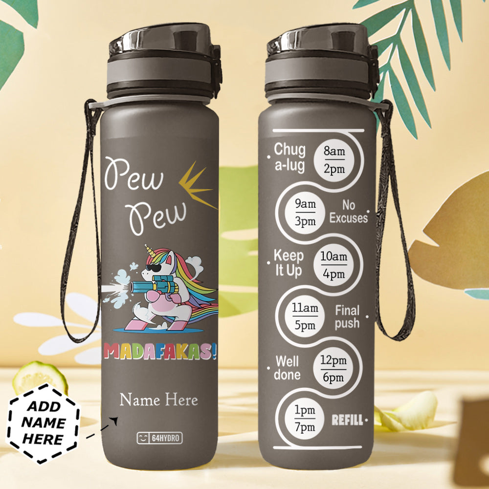 Unicorn Personalized HHA2907040 Black Water Tracker Bottle