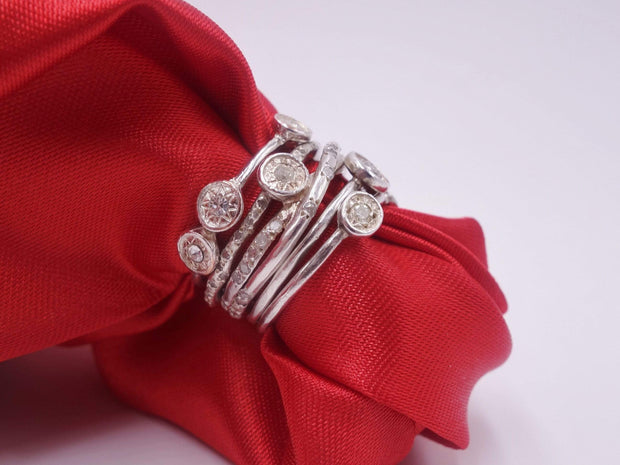 Sterling Stackables Rings with Diamonds
