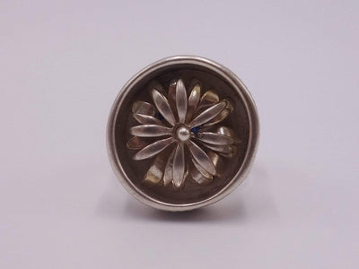 Silver Cocktail Ring with Movable Flower
