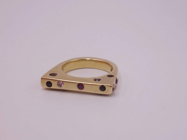 Solid 18kt Gold Ring with Pink Sapphires