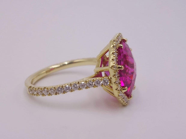 Pink Tourmaline and Diamond Ring