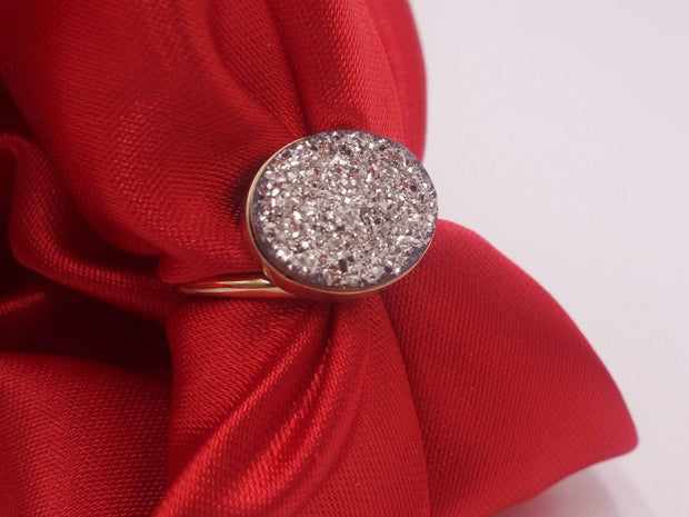 Platinum Coated Druzy Ring set in Gold