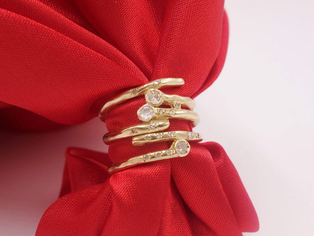 Gold Ring with Two Diamonds