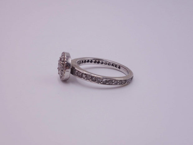Platinum and White Gold Ring with Pave Diamonds