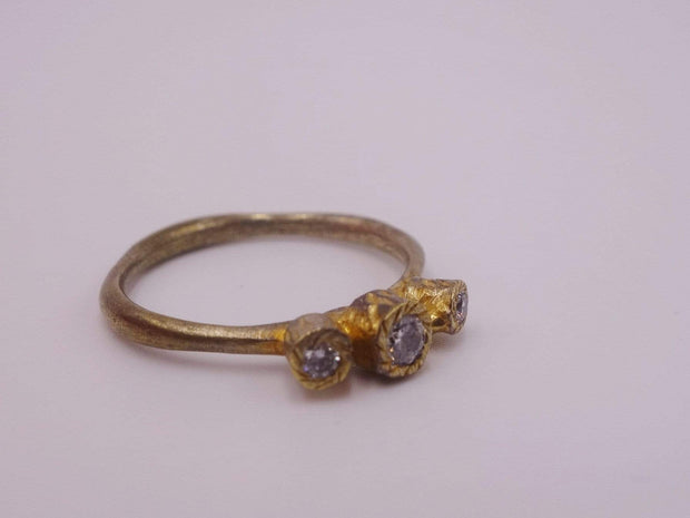 Three Tiered Gold Plated Cluster Ring with Diamonds
