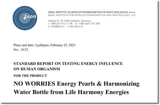 BION Institute No Worries Energy Pearls Water Bottle Research Study