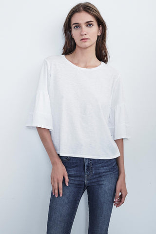 ELLIS COTTON SLUB RUFFLE SLEEVE TEE | WHITE