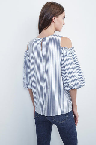BRUNA COTTON STRIPE COLD SHOULDER TOP | BLUE