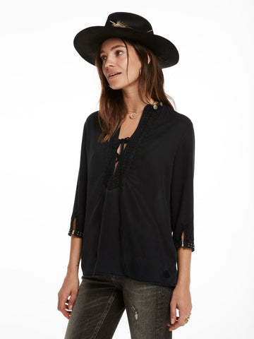 GAUCHO STUDDED TOP | BLACK