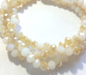 Chinese Crystal Beads Rondelle Shape 8mm X 6mm Color Jade Off White & Gold Plated