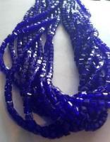 Chinese Crystal Glass Beads Faceted Square Shape 4mm X 4mm Cobalt Blue