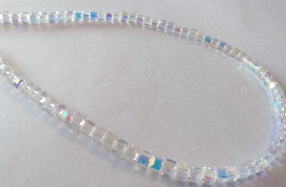 Chinese Crystal Glass Beads Faceted Square Shape 4mm X 4mm Clear AB