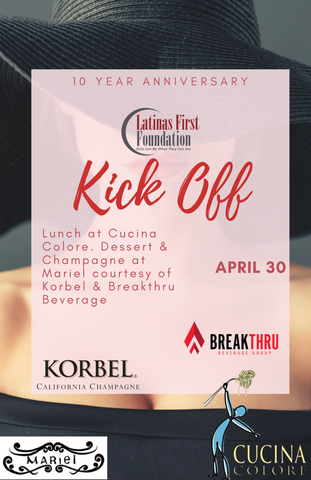 Lady with hat promoting kick off luncheon at cucina colore April 30. Dessert and champage following at Mariel courtesy of Korbel and Breakthru beverage. Mariel will donate 20% of sales that afternoon. space limited.