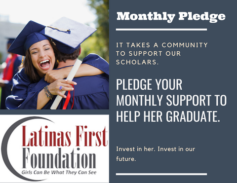 young woman in graduation gown hugging fellow graduate. donate to latinas first a monthly amount of your choice to support scholarships