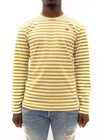 COMME des GARÇONS PLAY | Play Striped Small Heart LongT-Shirt (Yellow/White)