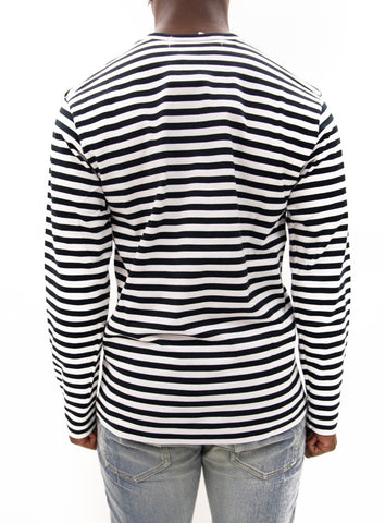 COMME des GARÇONS PLAY | Play Striped LongT-Shirt (Black/White)