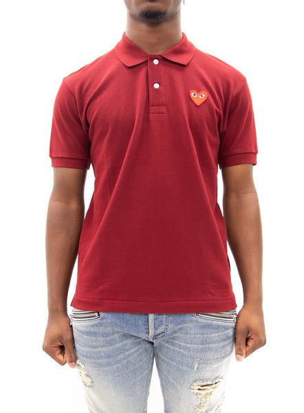 COMME des GARÇONS PLAY | Heart Logo Slim Fit Polo (Red)