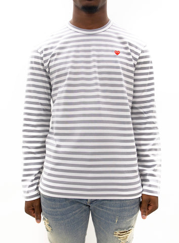 COMME des GARÇONS PLAY | Play Striped Small Heart LongT-Shirt (Grey/White)