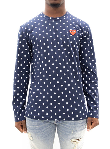 COMME des GARÇONS PLAY | Play Polka Dot Long Sleeve T-Shirt (Navy/White)