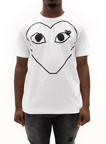 COMME des GARÇONS PLAY | Outline Heart Graphic T-Shirt (White)