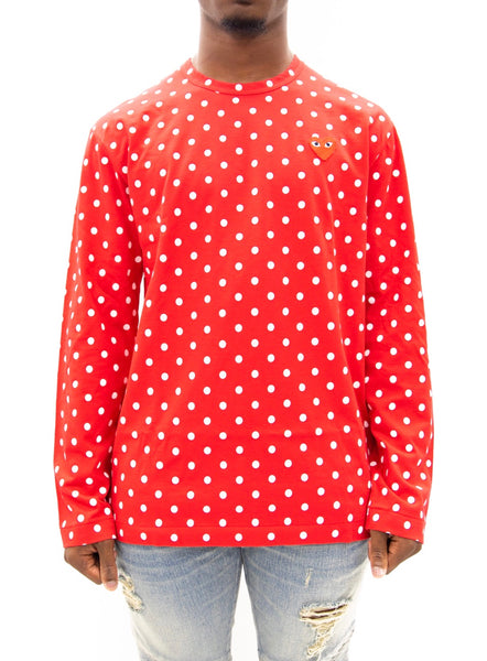 COMME des GARÇONS PLAY | Play Polka Dot Long Sleeve T-Shirt (Red/White)