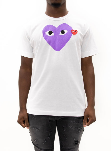 COMME des GARÇONS PLAY | Heart Face Slim Fit Graphic T-Shirt (White)