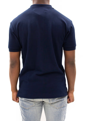 COMME des GARÇONS PLAY | Heart Logo Slim Fit Polo (Navy)