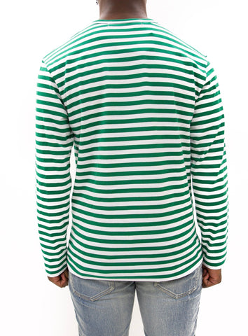 COMME des GARÇONS PLAY | Play Striped LongT-Shirt (Green/White)