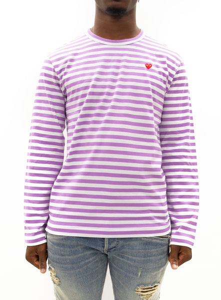 COMME des GARÇONS PLAY | Play Striped Small Heart LongT-Shirt (Purple/White)
