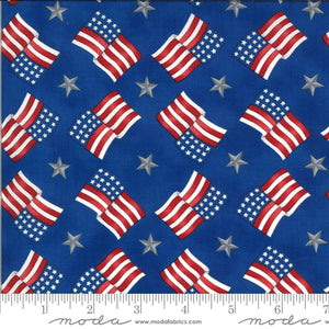 "America the Beautiful ""Flags on Blue B/G""-Moda Fabrics-Fat Quarter"