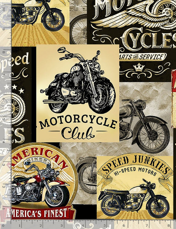 Vintage Motorcycle Signs on Cream B/G-Timeless Treasures-Fat Quarter