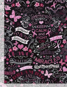 Breast Cancer Ribbons & Words-Black Chalkboard-Timeless Treasures-Fat Quarter