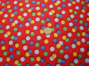 "Let It Snow ""Buttons on Red B/G""-VIP for Quilting Treasures-Fat Quarter"
