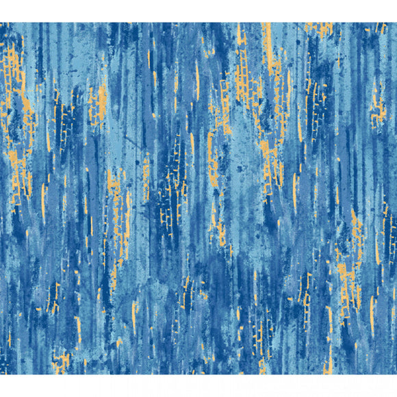 Blue & Gold Color Wash-Red Rooster-Fat Quarter
