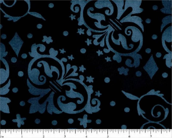 Denim Blue Novelty Print-Black B/G-108